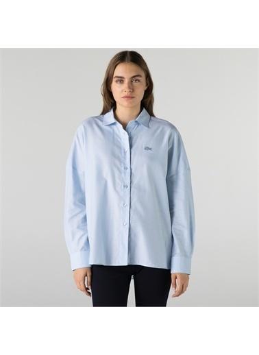 Lacoste Lacoste Kadın Relaxed Fit Mavi Gömlek Mavi